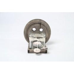 Kaarsenhouder m/2 glas button s grijs