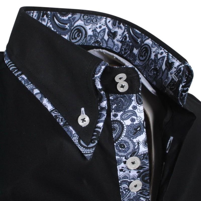 Overhemd Italiaans Design.Carisma Trendy Italiaans Overhemd Getailleerd 8173 Zwart
