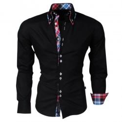 CRSM - Overhemd met dubbele kraag - H 110 - Zwart