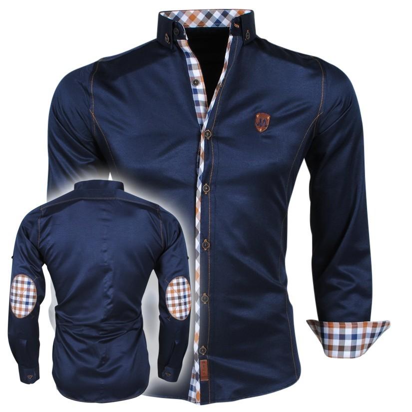 Mannen Blouse Of Overhemd.Megaman Heren Overhemd Met Elleboog Pads En Geblokte Kraag 109