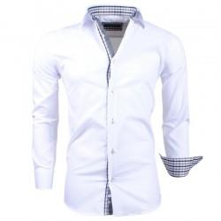 Montazinni - Slimfit Overhemd met Geblokte kraag en manchet - Wit