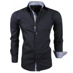 Montazinni - Slimfit Overhemd met Geblokte kraag en manchet - Zwart