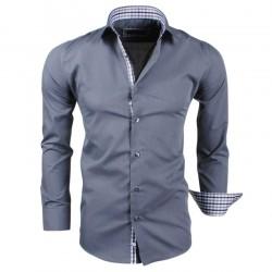 Montazinni - Slimfit Overhemd met Geblokte kraag en manchet - Grijs