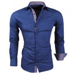 Montazinni - Slimfit Overhemd met Ruit motief in kraag en manchet - Navy