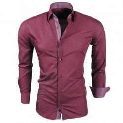 Montazinni - Slimfit Overhemd met Ruit motief in kraag en manchet - Bordeaux