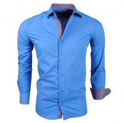 Montazinni - Slimfit Overhemd met Ruit motief in kraag en manchet - Blauw