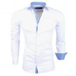 Montazinni - Slimfit Overhemd met Streep motief in kraag en manchet - Wit