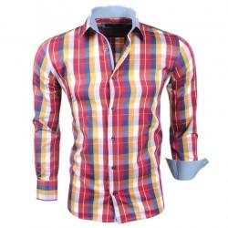 Montazinni - Geblokt Slimfit Overhemd - Rood Geel