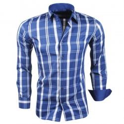 Montazinni - Geblokt Slimfit Overhemd - Blauw Wit
