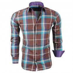 Montazinni - Geblokt Slimfit Overhemd - Bruin Paar