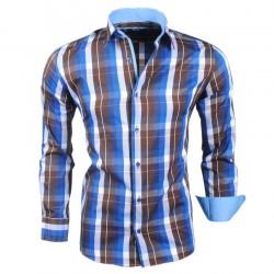 Montazinni - Geblokt Slimfit Overhemd - Bruin Blauw