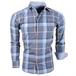 Montazinni - Geblokt Slimfit Overhemd - Blauw Grijs Artikelnummer: H 2524