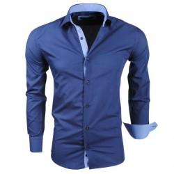 Montazinni - Slimfit Overhemd met Ruit motief in manchet en kraag - Navy