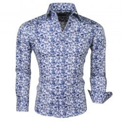 Montazinni - Slimfit Overhemd met blauw Paisley Design - Wit
